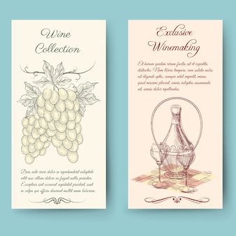 Вертикальные баннеры для вина и виноделия. этикетка для бутылки, урожай фруктов, векторные иллюстрации