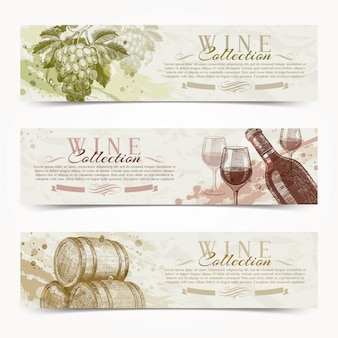 Вино и виноделие - гранж старинные баннеры с рисованной objets.