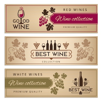 Wine banner set.