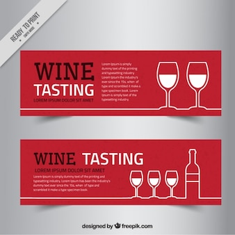 Wine banners in minimalist style