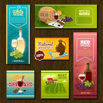 Wine banners set