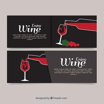 Вино баннеры с руки drawm бутылки и чашки