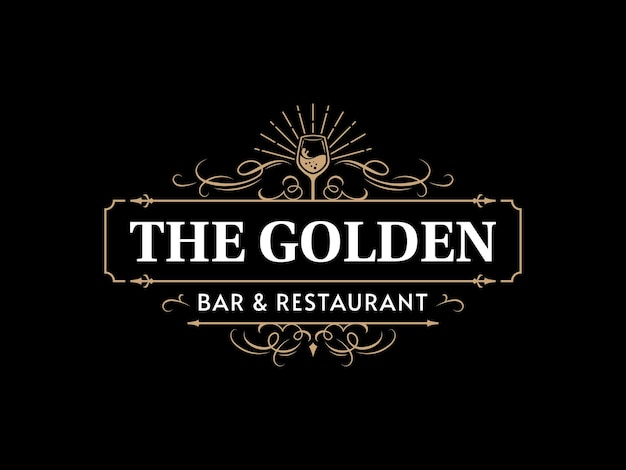 ワインバーとレストランの華やかなヴィンテージのタイポグラフィのロゴと装飾的な装飾的な繁栄のフレーム