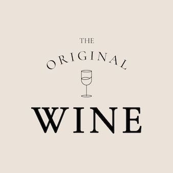 Modello logo wine bar con illustrazione minima del bicchiere di vino