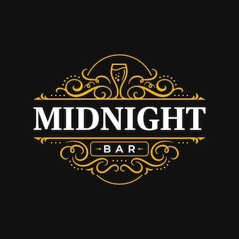 Wine bar restaurant vintage luxury ornamental typography logo design with flourish ornament