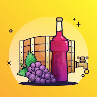 Wine barrel and bottles icon
