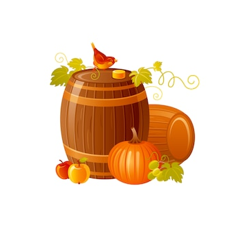 Wine barrel. cartoon autumn illustration for wine festival, beaujolais nouveau french fest, thanksgiving day.