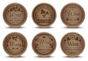 Wine barrels icons set