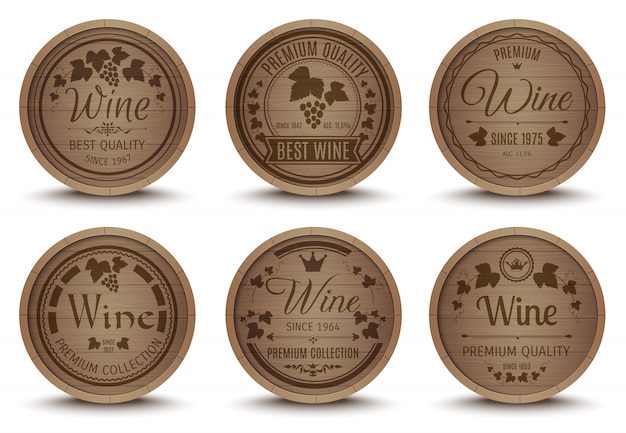 Wine barrels icons set