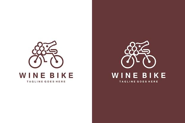 ワインバイクのロゴとワインのベクトル