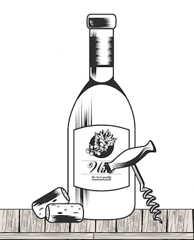 Wine black and white drawing