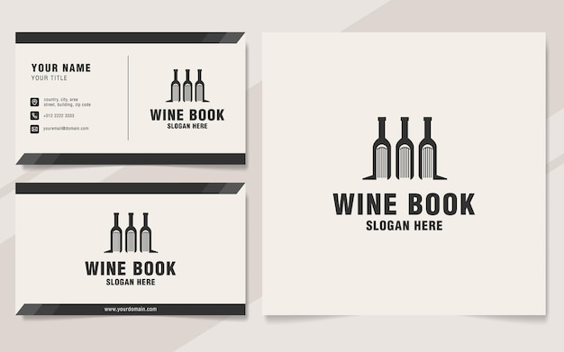 Шаблон логотипа винной книги в стиле монограммы