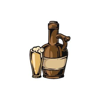 ワインボトルとグラスを飲む