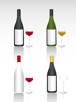 Wine bottel and cup with shadow vector illustration