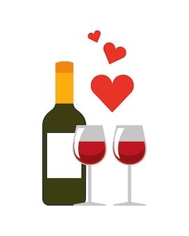 Бутылка вина и значок стекла. италия дизайн культуры. векторная графика