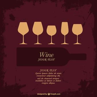 Wine bottle and glasses grunge background