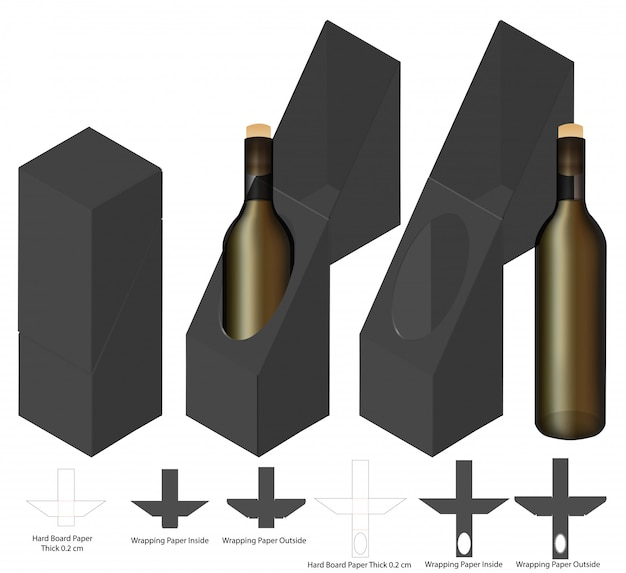 Wine bottle box packaging die cut template design.