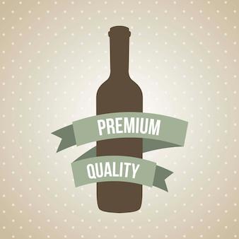 Wine bottle over brown background vector illustration