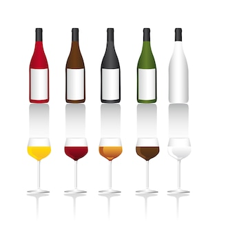 Wine bottle and cup with shadow over white background vector