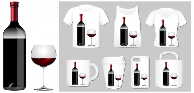 Wine bottle and glass on different product templates