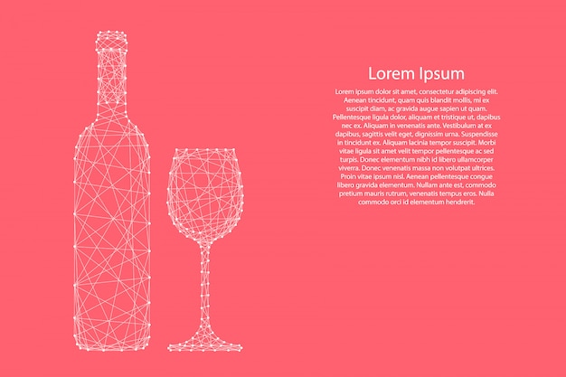 Wine bottle and glass from abstract futuristic polygonal white lines and dots pink template