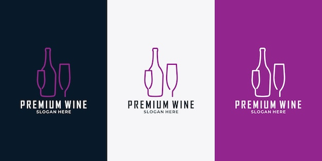 Wine bottle and glass logo design template for your business or wine lovers community
