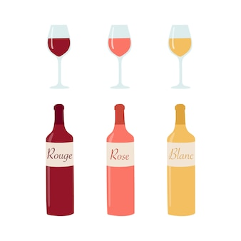 Wine bottle and glasses illustration.