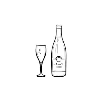와인 병 손으로 그려진된 개요 낙서 아이콘입니다. 흰색 배경에 격리된 인쇄, 웹, 모바일 및 인포그래픽을 위한 병 및 와인 한 잔의 벡터 스케치 그림입니다.