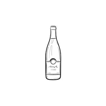 와인 병 손으로 그려진된 개요 낙서 아이콘입니다. 흰색 배경에 격리된 인쇄, 웹, 모바일 및 인포그래픽을 위한 샴페인 병의 벡터 스케치 그림.
