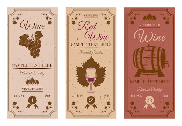 Wine bottle labels with brown vines grape leaves berries wooden barrel tiny stains inscriptions isolated