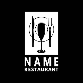 Wine bottle spoon fork plate knife glass for dining restaurant logo design
