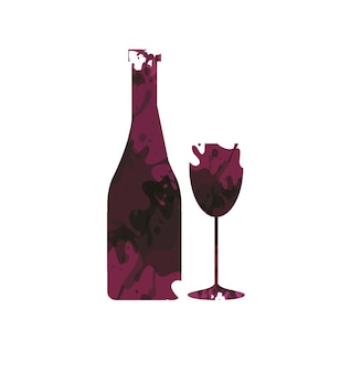 Wine bottle and wineglass
