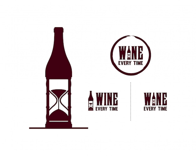 Wine bottle with hourglass symbol set logo vector