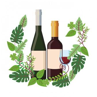 와인 병 및 화 환에 컵