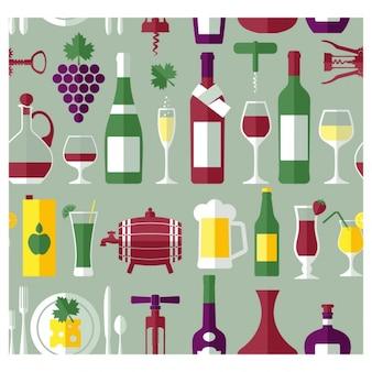 평면 디자인에 와인 병 및 음료 배경 무료 벡터