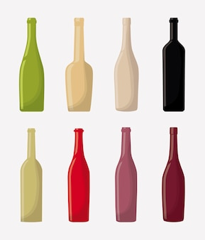 Wine bottles over white background