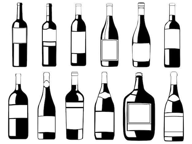 ワインボトルセット。黒と白のワイナリーボトルコレクション。シャルドネ、メルロー、シャンパンのパッケージ。アルコール飲料パックイラスト。