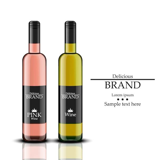 와인 병 벡터 현실입니다. 흰색과 장미 음료. 제품 포장 라벨 디자인