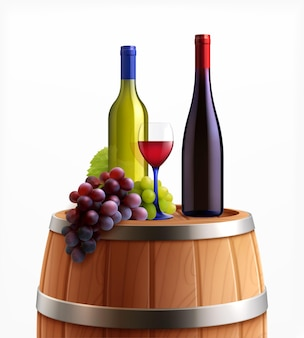 Wine bottles on wooden barrel with grapes