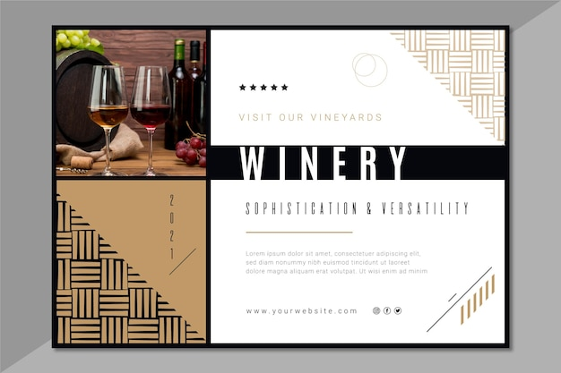 Шаблон горизонтального баннера винного бренда