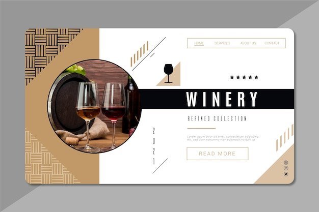 Modello di pagina di destinazione del marchio di vino