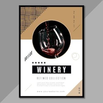 Modello di poster del marchio di vino