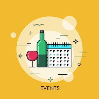 Wine and calendar thin line illustration