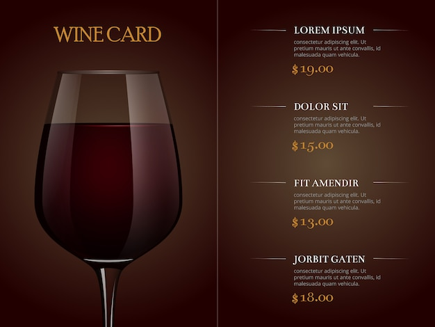 Wine card menu template with realistic glass of red wine