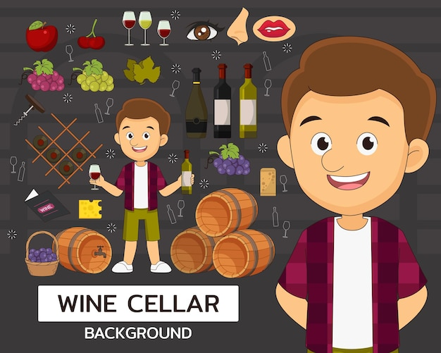 Wine cellar concept background. flat icons.