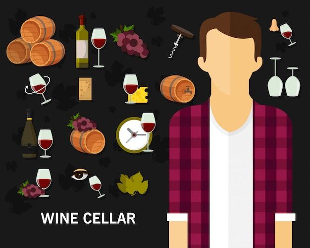 Wine cellar concept background