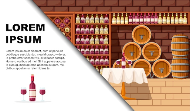 Wine cellar with shelves, barrels and table