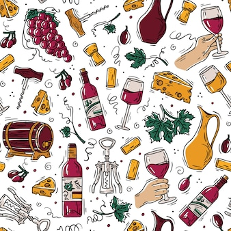 Wine and cheese seamless pattern in doodle style with grapes and bottles