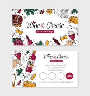 Wine and cheese visit card for a shop or cafe in doodle style