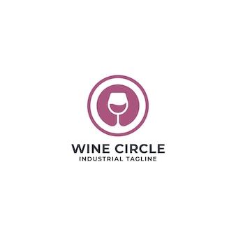 Wine and circle logo premium